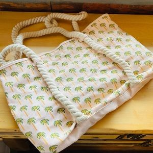 Beach palm tree rope tote canvas handbag pink FL